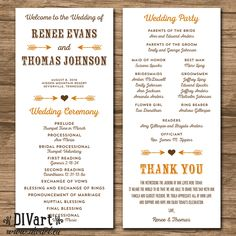 Rustic Wedding Program, Ceremony Program - PRINTABLE files - rustic wedding, garden wedding, arrows, heart, fall, burnt orange brown - Renee by DIVart on Etsy