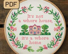 Bless this Hizzle Fo' Shizzle Cross Stitch Pattern, Housewarming Cross Stitch Pdf, Embroidery Hoop Art - Cross Stitch Kits - Counted & Stamped Kits Funny Embroidery, Embroidery Hoop Art, Cross Stitch Embroidery, Embroidery Patterns, Needlepoint Patterns, Loom Patterns, Funny Needlepoint, Simple Embroidery, Embroidery Fabric
