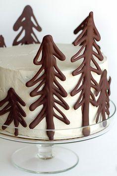 christmas cake with chocolate trees