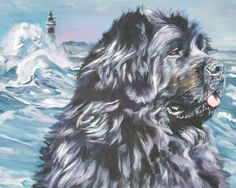 Newfoundland dog art CANVAS print of LA Shepard painting 8x10 portrait by TheDogLover on Etsy https://www.etsy.com/listing/39695522/newfoundland-dog-art-canvas-print-of-la