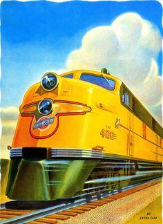 "Locomotora del tren ""The 400"", de Chicago & Northwestern Line, USA"