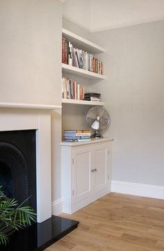 The Shelving Company: Alcove Cupboard & Floating Alcove Shelves in Marylebone - Model Home Interior Design Home Living Room, Home, Living Dining Room, Living Room With Fireplace, Living Room Shelves, Living Room Cupboards, Alcove Ideas Living Room, Alcove Cabinets, Victorian Living Room