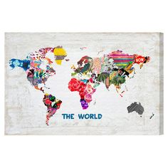 Equally at home in an artful collage or on its own as an eye-catching focal point, this hand-stretched canvas print showcases a vibrant world map. Made in th...