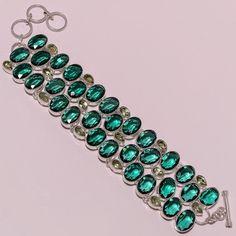 925 Sterling Silver emerald color+green amethyst deginer bracelet g875 75gm #handmade #bracelet