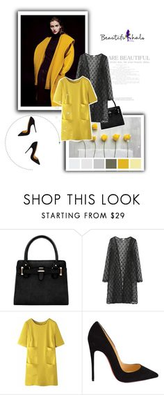 """Beautifulhalo"" by sabine-rose ❤ liked on Polyvore featuring WithChic, Christian Louboutin, yellow, dress, polyvoreOOTD, PolyvoreMostStylish and beautifulhalo"
