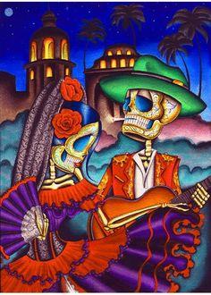 dark desert highway by dave sanchez mexican love day of the dead fine art print western cow-boy caballeros vaquero charros
