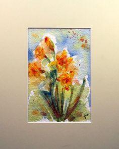 Original Watercolor Spring Daffodils, Spring Daffodils Wall Hanging, Daffodils, Spring Flower, Spring Home Decor, Watercolor Daffodils