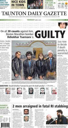 The front page of the Taunton Daily Gazette for Thursday, April 9, 2015.