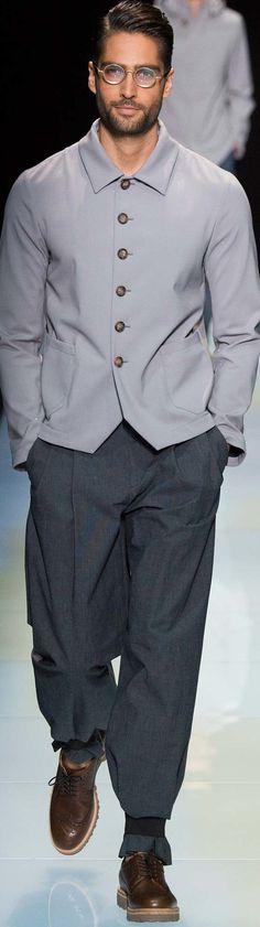 He looks pretty groovy and it's a great departure from the traditional men's shirt! ~ Cortigiana re. Emporio Armani