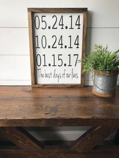 Best Days of Our Lives Wood Sign / Best Days of Our Lives Date Sign / Important Dates / Family Date Sign / Custom Family Sign/Birthdays Sign by PineandPaintShop on Etsy https://www.etsy.com/listing/561838447/best-days-of-our-lives-wood-sign-best