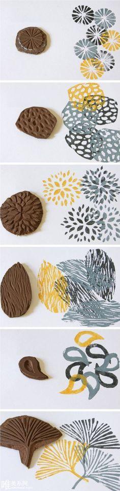 Impresión creativa con una arcilla de caucho o polímero