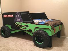 Discover recipes, home ideas, style inspiration and other ideas to try. Monster Truck Bedroom, Monster Truck Kids, Monster Jam, Truck Toddler Bed, Kids Truck Bed, Digger Bedroom, Cool Beds For Boys, Jeep Bed, Car Themed Bedrooms