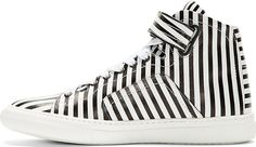 Pierre Hardy - Black & White Stripe High-Tops | SSENSE