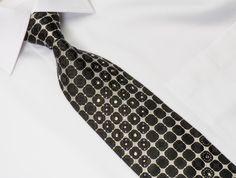 Aquascutum Men's Crystal Rhinestone Tie Silver & Black Geometric With Silver Sparkles