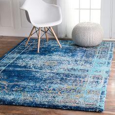 nuLOOM Vintage Inspired Vibrant Blue Shag Rug (5'3 x 7'6) (Blue), Size 5' x 8' (Polyester, Border)
