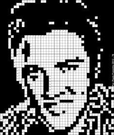 Elvis Presley em grelha de Palavras Cruzadas (Pixel Art) Cross Stitch Art, Cross Stitch Animals, Cross Stitching, Cross Stitch Patterns, Pearler Bead Patterns, Peyote Patterns, Loom Patterns, Lego Mosaic, Pixel Drawing