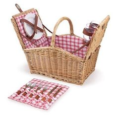 NEW Natural Picnic Basket for 2