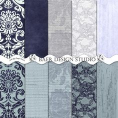 """Digital papers in beautiful shades of blue and navy with wood and lace details for rustic wedding invites, paper decor, scrapbook layouts, etc.  8.5 x 11 inches and 12 x 12 inches, 300 dpi jpgs, instant download digital paper pack.  Follow the """"visit"""" button for more details."""