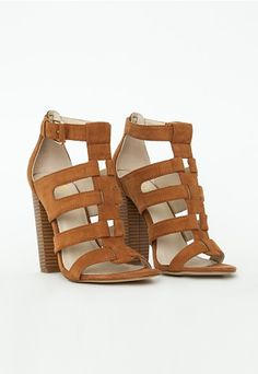 Gladiator Heeled Sandals Tan Faux Suede - Shoes - Missguided