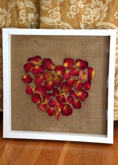 Dried Rose Petal Shadow Box