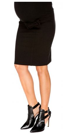 Maternity Black Pencil Skirt With Bow