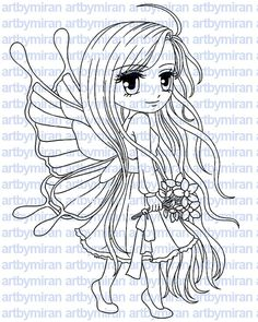 Digital Stamp  Flutterby Digi Stamp Coloring page by artbymiran - $3.00