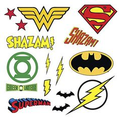 """RoomMates RMK2749SCS DC Superhero Logos Peel & Stick Wall Decals, 16 Count   Fanship Comes with 16 wall decals; decal range size 2.8""""Wide x 2.6""""High to 8.6""""Wide x 11""""highEasy to apply - just peel and stickApplies to any smooth surface More ➤ http://fanship.co/product/roommates-rmk2749scs-dc-superhero-logos-peel-stick-wall-decals-16-count/"""