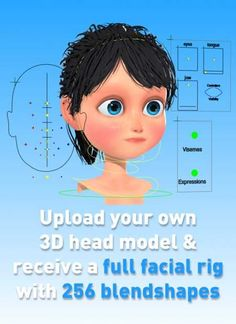 Automatically generate a full facial rig for any character along with 256 blendshapes. Simply upload your model and receive a rig ready to be animated! 3d Character, Character Design, Video Game Development, 3d Face, Face Expressions, Cartoon Design, Doodle Drawings, Learn To Draw, Rigs