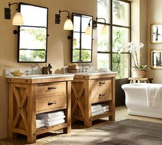 Benchwright Reclaimed Wood Single Sink Console - Wax Pine Finish | Pottery Barn