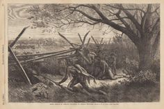 """W.M. Cary. """"Sioux Indians in Ambush Preparing to Attack Settlers."""" May 2, 1868."""