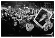 Prague, 19 December 1989 - in front of the Federal Assembly.The Eighteenth Joint Session of both houses of the Federal Assembly of the Czechoslovak Socialist Republic; Czechoslovaks demand that deputies elect Vaclav Havel President. Copyright:(c)Tomki Nemec