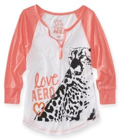 Love Aero Cheetah Raglan Dorm Henley  small