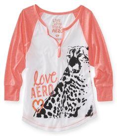 Love Aero Cheetah Raglan Dorm Henley