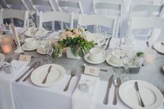 white tablecloth, grey runner