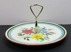 Stangl Pottery Country Garden Serving Tray w/ Metal Handle Carved Brown Bottom #Stangl