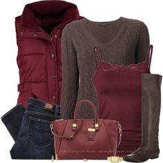 """Burgundy & Brown"" by stay-at-home-mom on Polyvore"