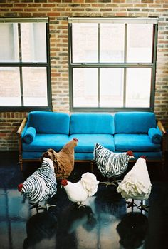 Wool Felt Chicken Footstools. Be cool to just have as art
