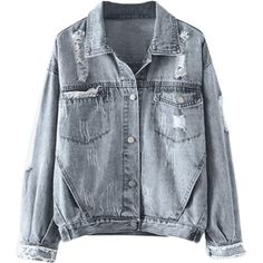 Button Up Ripped Denim Jacket With Pockets (£23) ❤ liked on Polyvore featuring outerwear, jackets, zaful, distressed denim jackets, button down jacket, button up jacket, blue jean jacket and distressed jean jacket