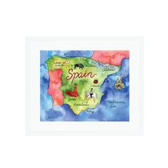 A colorful illustrated map of Spain.  Gallery quality Giclée print on 100% cotton rag, acid- free, archival Fine  Art Bright White Paper. Custom trimmed with .25″ border for framing.  Print does not come matted or framed.  Interested in a custom map? Check out the commission process here and  examples of past work here!  Copyright does not transfer with sale. Artist retains all reproduction  rights. © Lauren Taylor Creates, 2016