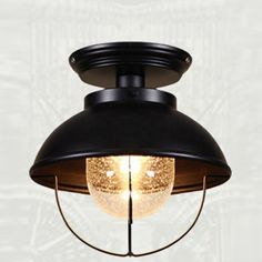 $69 Close To Ceiling Light with Clear Glass in Black Finish