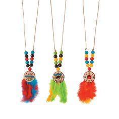 This outdoors-inspired kids' craft is a little rough around the edges, and we like it that way! Featuring wooden beads, colorful feathers and a . Yarn Crafts For Kids, Vbs Crafts, Diy For Kids, Crafts To Make, Indian Necklace, Diy Necklace, Pearl Necklace, Fine Motor Activities For Kids, Native American Crafts