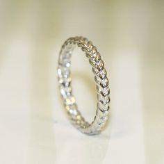 Love Rope 14K White Gold Braided Wedding Band by LoveJcRing