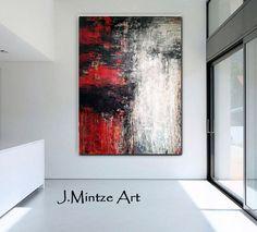 Venta Resumen original rojo de arte abstracto arte por JudyMintze