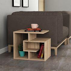 Wrought Studio Maliyah Modern End Table Color: Oak Living Room Furniture, Diy Furniture, Furniture Design, Floor Shelf, Unique Shelves, Modern End Tables, End Tables With Storage, Kitchen Chairs, Interior Design