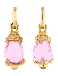 Judith Ripka Pink Crystal and Diamond Drop Earrings
