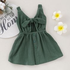 Baby / Toddler Solid Bowknot Decor Backless  Dress