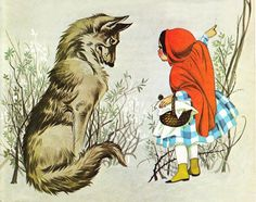 "Illustration by Janet and Anne Grahame Johnstone for ""Little Red Riding Hood"", from 'A Book of Fairy Tales'"