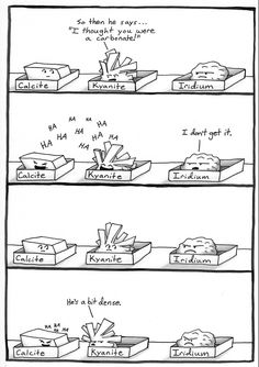 More geology humor. I'll bet you didn't know this is what goes on in those dusty drawers of minerals. Math Jokes, Science Jokes, Science Experiments, Earth And Space Science, Science And Nature, Science Classroom, Teaching Science, Science Writing, Geology Humor
