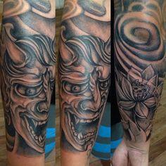 Half Sleeve Japanese project by @buchtattoo   #tattoo #tattooidea #japanesetattoo #oriental #hanyamasktattoo #halfsleevetattoo #blackandgreytattoo #familiatattoobali