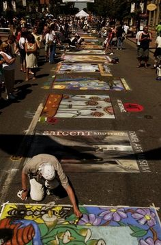Artists create chalk based artwork on the streets! Denver's 2013 Summer Festivals
